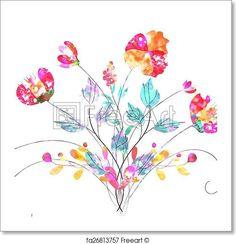 watercolor flower - Artwork  - Art Print from FreeArt.com