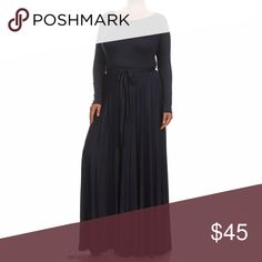 """$65 Plus Navy Scoop Neck Puddle Women Maxi Dress PLUS SIZE Grey Scoop Neck Puddle Maxi Dress Beautiful Maxi Dress  Attached Tie Sash Long sleeves Full Skirt  Stretch Knit Fabric 96%poly/6% spandex  Approx. Measurements 1XL bust is 20"""", waist is 15"""", hips are 25"""" Dresses Maxi"""