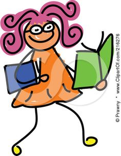 Royalty-Free (RF) Clipart Illustration of a Childs Sketch Of A Girl Reading Books by Prawny