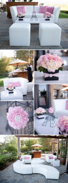 Paris-themed baby shower - love the peonies <3