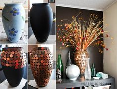 Would You Like to Decorate a Vase with Just Coins? - http://www.amazinginteriordesign.com/would-you-like-to-decorate-a-vase-with-just-coins/