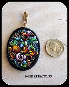 Love the colors | Polymer Clay Pendant  Two Sided by bleekreations on Etsy, $18.00