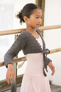 So perfect for budding ballerinas to wear at the dance studio, this comfortable tie-front shrug pattern is sized from 4 to 10. The soft yarn has a bit of sparkle that allows a girl to shine whether wearing a leotard, skirt or jeans.