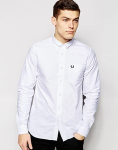 Image 1 ofFred Perry Oxford Shirt In Slim Fit In White