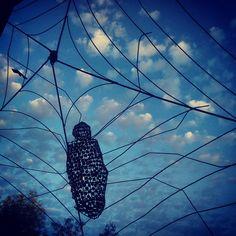 #spider #web #metal #manmade #clouds #sky #art