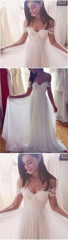 New Arrival Wedding Dress,Charming A-Line Wedding Dresses,Long Appliques Wedding Dresses,Wedding Dress #weddingdress #weddingdresses #weddings #whitelace