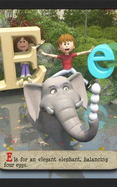 The ABC poem for kids then goes on to E, where E is for an elegant elephant, balancing four eggs. Alliteration, Dinosaur Stuffed Animal, Kindergarten, Poems, Preschool, Elephant, Eggs, Learning, Animals