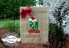 Christmas Initial Personalized Santa hat Garden flag