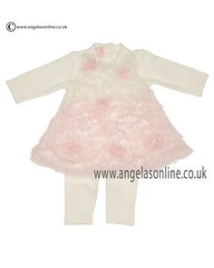 Kate Mack Baby Girls Ivory/Pink Ruffle Net Dress & Leggings 411 RR Ivory. Casual girls clothes by Kate Mack. Baby girls cheapest dress & pants by Kate Mack 2015.
