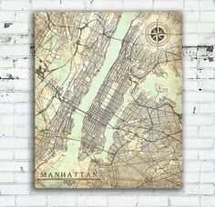 WORLD MAP Canvas Print Vintage Map World Map Horizontal Large Wall - Oversized vintage maps
