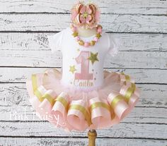 """4-pc Set. Tutu,Shirt, Bow, Necklace. Pink and Gold """"Twinkle Little Star"""" Satin Ribbon Trim Tiered Tutu Birthday Outfit with Accessories."""