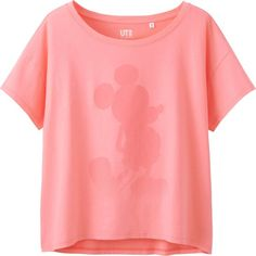 UNIQLO Women's Disney Project Graphic Tee (215 ZAR) ❤ liked on Polyvore featuring tops, t-shirts, shirts, pink, pink graphic tee, pink tee, red shirt, pink t shirt and graphic t shirts