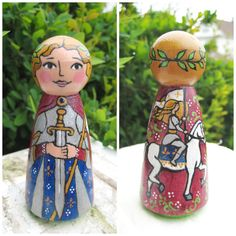 St. Joan of Arc Wooden Peg DollMade to Order by ThisLittlePeggy