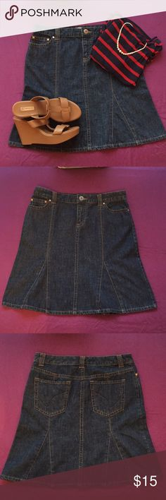 """Tommy Hilfiger Denim Skirt Classic denim pleated fit and flare skirt by Tommy Hilfiger.  Total length 21""""inches  Good condition. Offers welcomed Tommy Hilfiger Skirts Midi"""