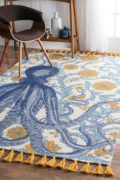 Rugs USA Multi Thomas Paul Printed Flatweave Cotton Giant Octopus rug - Animal Artistry Rectangle 3' x 5'
