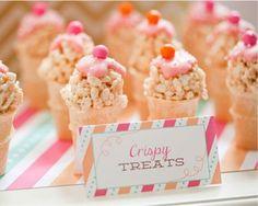 Mini Cereal Treat Ice Cream Cones - love this idea!