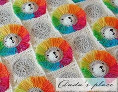Dada's place: Rainbow Lion Baby Blanket, crochet pattern for sale on Ravelry and Etsy