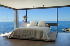 Bedroom with view. Home tour of beach house, CA.