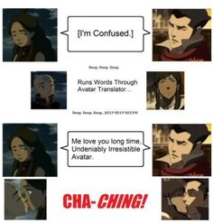 "What is it about (confused) that word that the Avatars just get ""kiss me""out of it. LOL #Aang #Katara #Korra #Mako for the shippers #Kataang #Makorra"