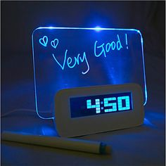 Message Board Blue Light Digital Alarm Clock with 4 USB Port Hub (USB) - USD $ 19.99