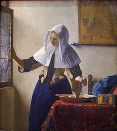 Johannes Vermeer (Dutch, Dutch Golden Age, 1632-1675): Young Woman with a Water Pitcher, c. 1662. Oil on canvas, 18 x 16 inches (45.7 x 40.6 cm). Metropolitan Museum of Art, New York, NY, USA.