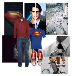 """""""man of steel outfit"""" by kenessyzap ❤ liked on Polyvore featuring art, superman, DC and films"""