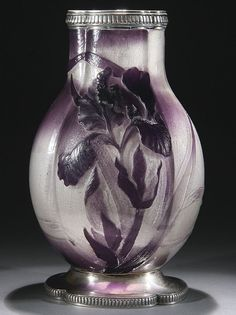 540: EMILE GALLE FRENCH CAMEO & SILVER ART GLASS VASE : Lot 540