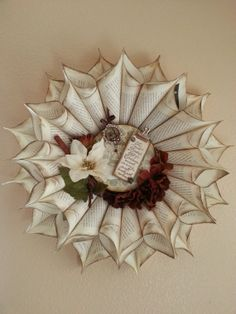 Christmas Paper Wreath by ReadingWreaths on Etsy, $45.00