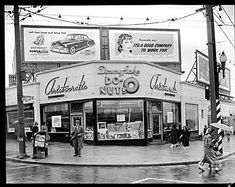 Downyflake Donuts taken Sept. 1951 in Vancouver. Public Library special collection of historical photos: 'Happy Birthday Aristocratics' by Artray. It shows the Aristocratic restaurant at the corner of Broadway and Granville. Vancouver Bc Canada, Vancouver Washington, Vancouver Island, Granville Street, Boston Public Library, Western Canada, Photographic Studio, Vintage Photographs, Vintage Photos