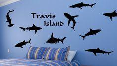 Shark Ocean Tiger Shark Hammerhead Deep Blue Tank Personalized Wall Decal Sea Predator Childs Room Play Room Kids Room Den
