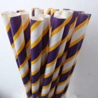 25 Purple and Yellow Stripe Paper Straws