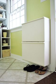 Shoo Shoes, Don't Bother Me | Young House Love  - $19 recycling bins from Ikea for shoes