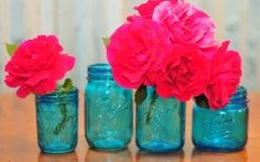 mod podge and food coloring painted mason jars