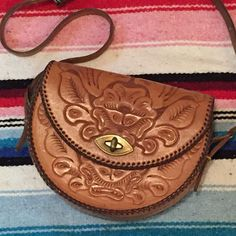 70s Vintage Tooled Leather Purse | Hippie Boho Chic Leather Handbag | Ethnic Mexican Native Southwestern Bohemian Crossbody Bag