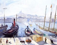 The Port of Marseille, Notre-Dame de la Garde Charles Camoin - Classic Paintings, Henri Matisse, Paris, Painting Inspiration, New Art, Notre Dame, Modern Art, Museum, Painters