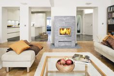 Valkia soapstone fireplace looks nice in a modern home. It has a big door that really brings out the fire.
