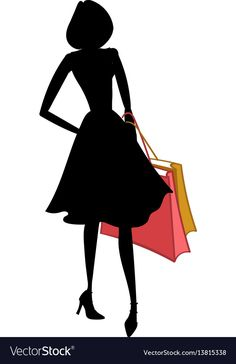 Silhouette of fashionable woman with different colored shopping bags on white background. Shopper. Sales. Vector illustration. Download a Free Preview or High Quality Adobe Illustrator Ai, EPS, PDF and High Resolution JPEG versions. ID #13815338.