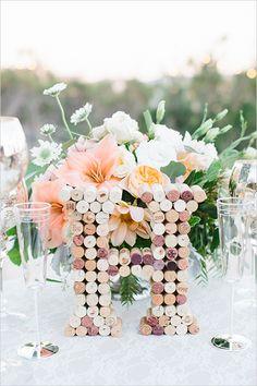 cork monogram wedding decor @weddingchicks