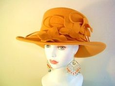 Golden Mustard Yellow Winer Fall Felt Women's Hat Millinery. Love the yellow!