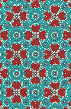 Aqua and Red Hearts by Dreaming_Lucy.  Would make such a pretty rug or quilt for a Valentines gift!