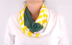 Chevron Infinity Scarf Zig Zag Stripe Green by CreationsbyTerra