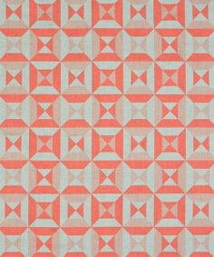 DESIGN: PARAVENTO 1008-1  COLOURWAY: CORAL / MOONSTONE  CONSTRUCTION: HAND PRINTED ON HAND CRAFTED BALTIC LINEN  COMPOSITION: 100% HIGHEST QUALITY PURE FLAX