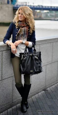 Fall fashion with olive skinnies, plaid scarf, and navy cardi
