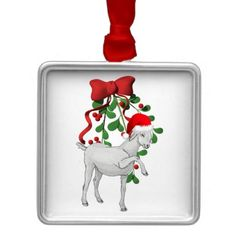 Mistletoe Goat Ornament   #goat #GetYerGoat #goatlady #Christmas