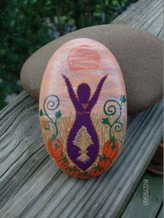 Autumn Harvest/Mabon Goddess Stone by MarciaStewartArt on Etsy