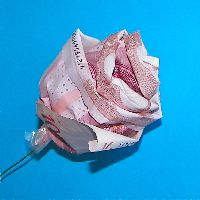 From all those money origami instructions this was the only one I could actually understand - make - and finally master! Nice roses from every currency.
