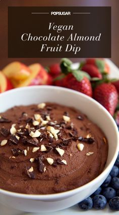 100-Calorie Chocolate Almond Fruit Dip (and It's Vegan!) super good, but if using unsweetened vanilla almond milk instead of soy, add 1 extra tsp vanilla, 1 extra syrup, and 2 extra dates