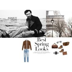 Men's Spring Fashion by lisa-simone-smith on Polyvore featuring Dunhill, BLACK BROWN 1826, Movado, Ray-Ban, Michael Kors, Salvatore Ferragamo, Uniqlo, H&M, men's fashion and menswear