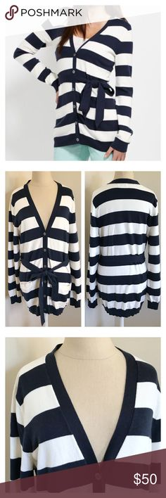 """Vineyard Vines cardigan. Like new Vineyard Vines Coastline Striped Sweater  Originally $145 Front welt pockets and ribbed long belt.  Button up cardigan can be worn with or without belt. Underarm to underarm 19"""", waist 19"""" (untied), length 31"""". Measurements taken flat. Like new! Vineyard Vines Sweaters Cardigans"""