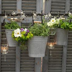 Create an innovative garden fence that has plenty of eco credentials by repurposing old shutters. Give the shutters a coat of paint – grey is a good colour for a backdrop, as it pretty much goes with everything, but white would look fab, too, especially when it starts to become rougher and less pristine. Add hooks to your shutter fence and use them to display pretty potted plants – buckets work well, as their handles make them easy to hang.
